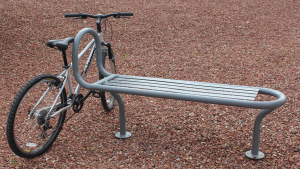 bike bench with bike gray